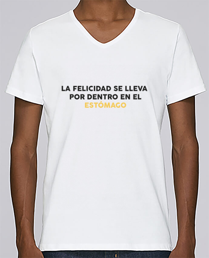 Camiseta Hombre Cuello en V Stanley Relaxes La felicidad se lleva por dentro en el estómago por tunetoo