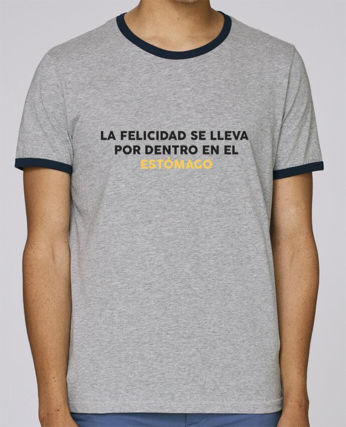 Camiseta Bordes Contrastados Hombre Stanley Holds La felicidad se lleva por dentro en el estómago pour femme por tunetoo