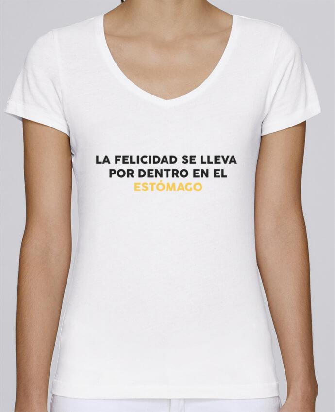 Camiseta Mujer Cuello en V Stella Chooses La felicidad se lleva por dentro en el estómago por tunetoo