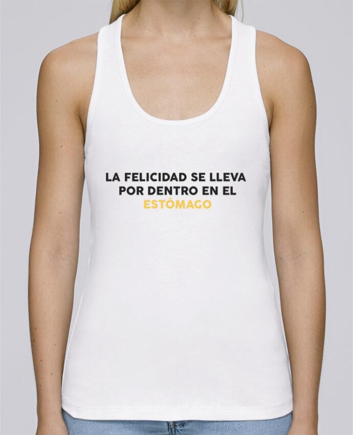 Camiseta de tirantes algodón orgánico mujer Stella Dreams La felicidad se lleva por dentro en el estómago por tunetoo en coton Bio