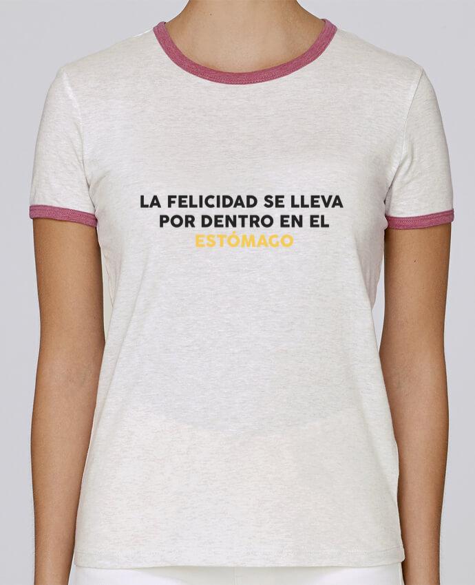 Camiseta Mujer Stella Returns La felicidad se lleva por dentro en el estómago pour femme por tunetoo