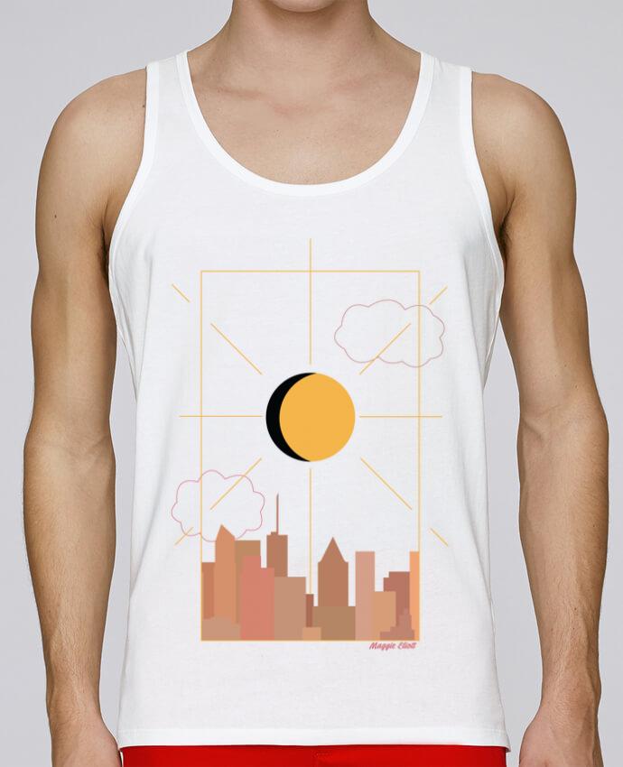 Camiseta de tirantes algodón orgánico hombre Stanley Runs Ville abstraite por Maggie E. 100% coton bio