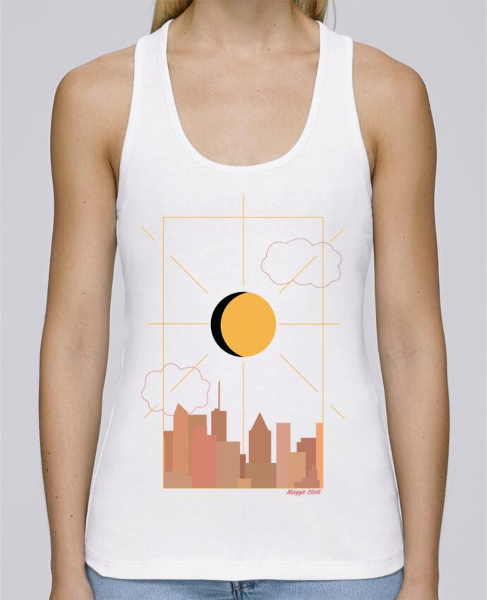 Camiseta de tirantes algodón orgánico mujer Stella Dreams Ville abstraite por Maggie E. en coton Bio