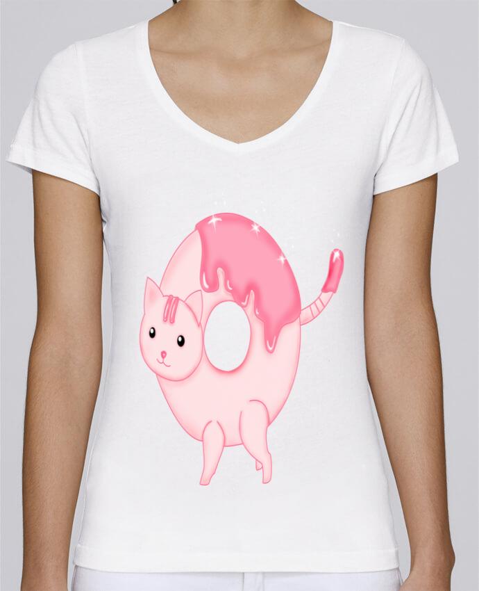 Camiseta Mujer Cuello en V Stella Chooses Tasty Donut Cat por Thesoulofthedevil