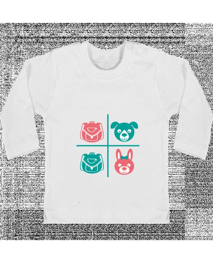 Camiseta Bebé Manga Larga con Botones  school kids manches longues du designer TEYTO