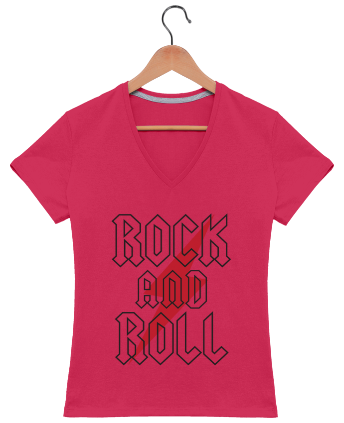 Camiseta Mujer Cuello en V Rock And Roll por Freeyourshirt.com