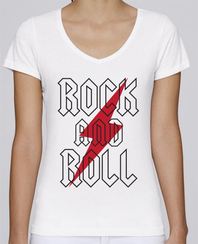 Camiseta Mujer Cuello en V Stella Chooses Rock And Roll por Freeyourshirt.com