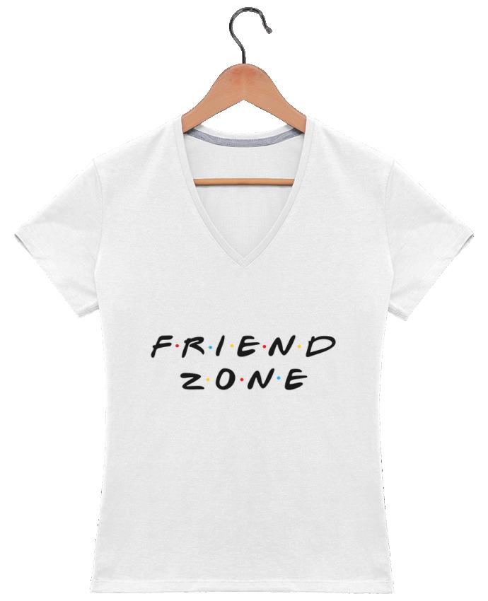 Camiseta Mujer Cuello en V FRIENDZONE por tunetoo
