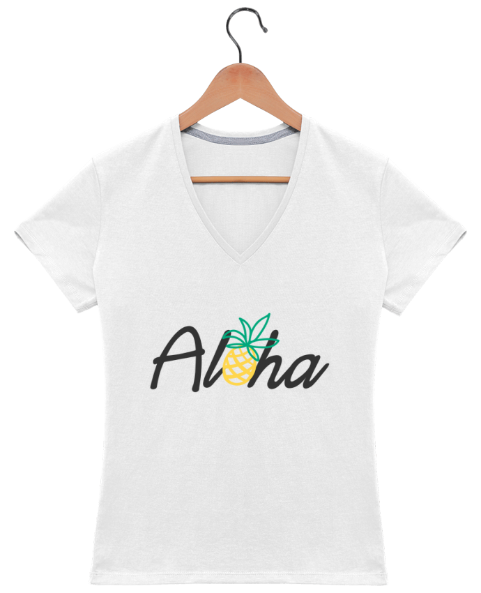 Camiseta Mujer Cuello en V Aloha por tunetoo