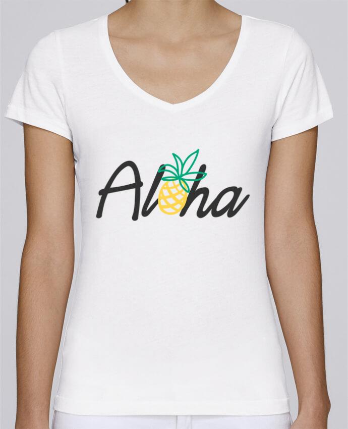 Camiseta Mujer Cuello en V Stella Chooses Aloha por tunetoo