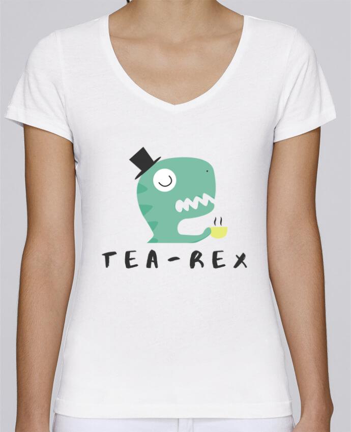T-shirt femme brodé Stella Chooses Tea-rex por tunetoo