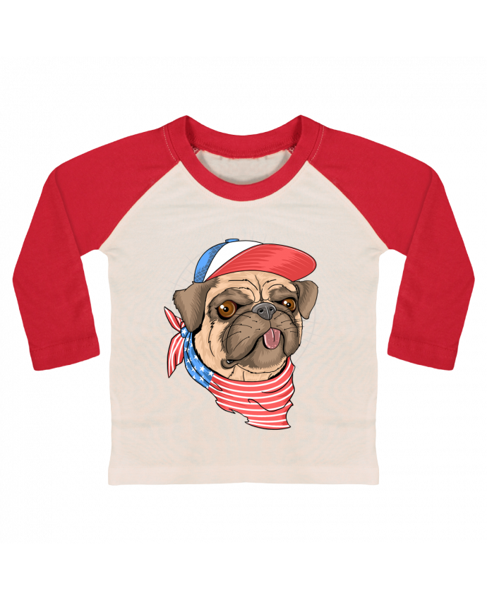 Camiseta Bebé Béisbol Manga Larga pets american style por Bsaif