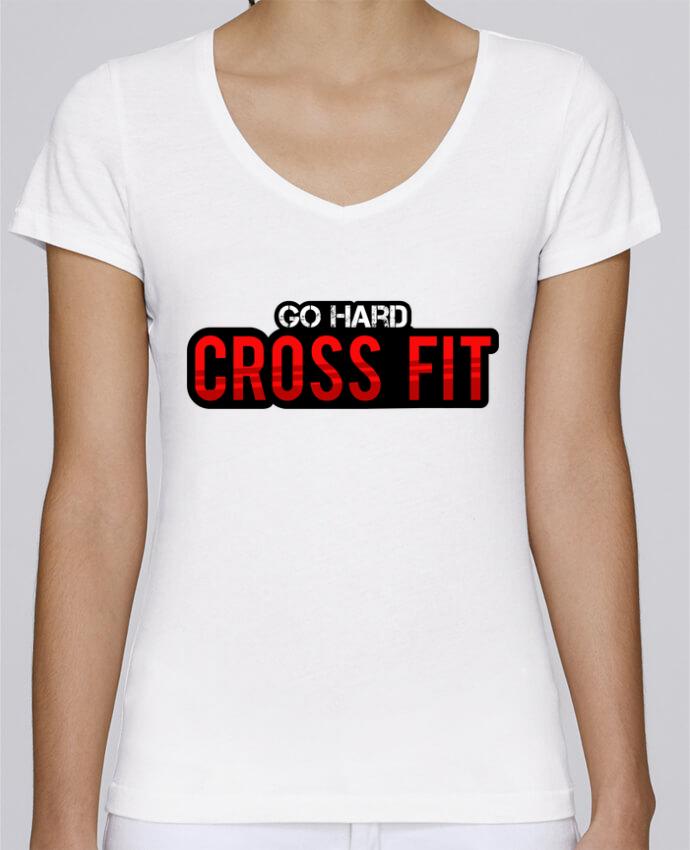 Camiseta Mujer Cuello en V Stella Chooses Go Hard ! Crossfit por tunetoo