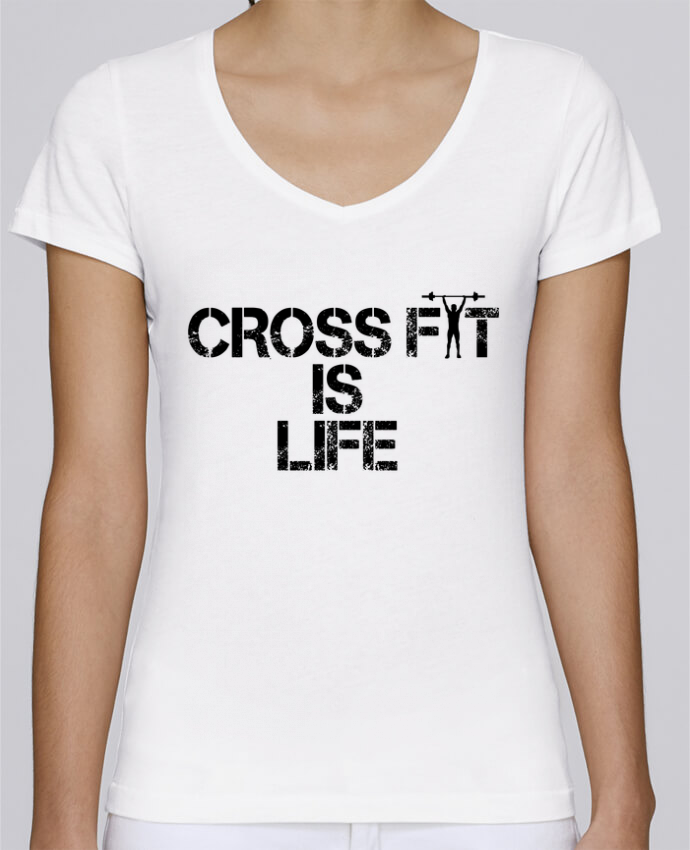 Camiseta Mujer Cuello en V Stella Chooses Crossfit is life por tunetoo