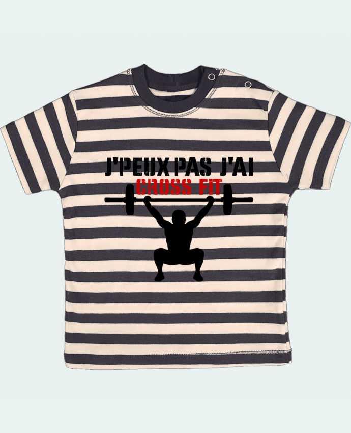 Camiseta Bebé a Rayas J'peux pas j'ai Crossfit por tunetoo