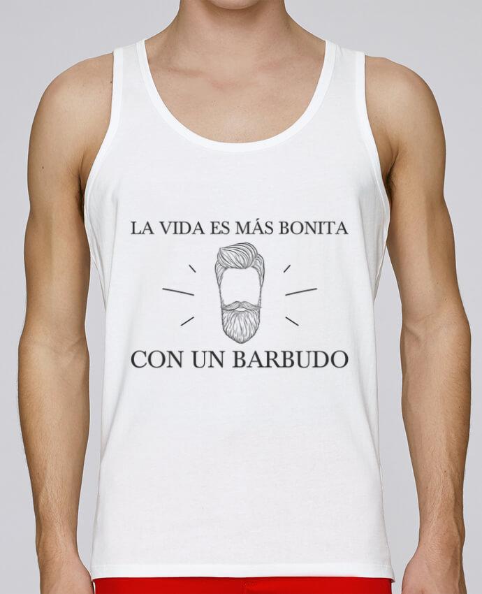 Camiseta de tirantes algodón orgánico hombre Stanley Runs La vida es más bonita con un barbudo por tunetoo 100% coton bio