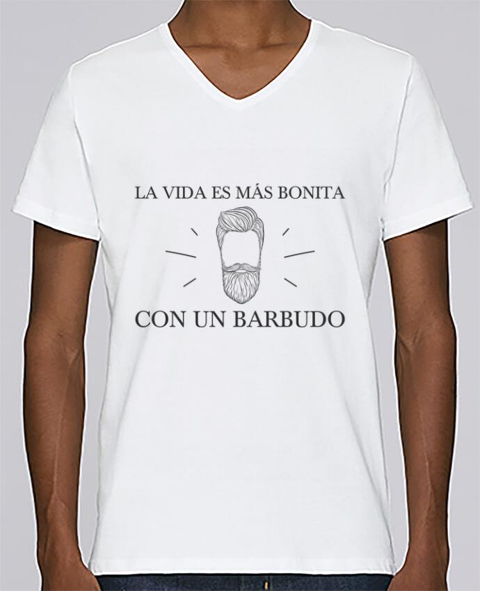 Camiseta Hombre Cuello en V Stanley Relaxes La vida es más bonita con un barbudo por tunetoo