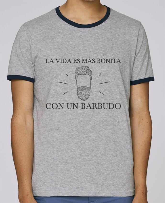 Camiseta Bordes Contrastados Hombre Stanley Holds La vida es más bonita con un barbudo pour femme por tunetoo