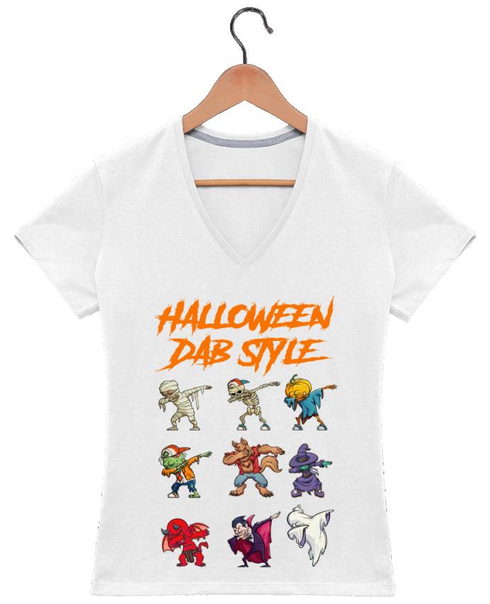 Camiseta Mujer Cuello en V HALLOWEEN DAB STYLE por fred design