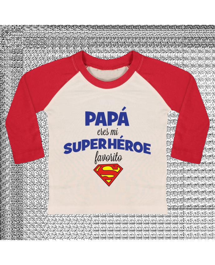 Camiseta Bebé Béisbol Manga Larga Papa eres mi superhéroe favorito por tunetoo