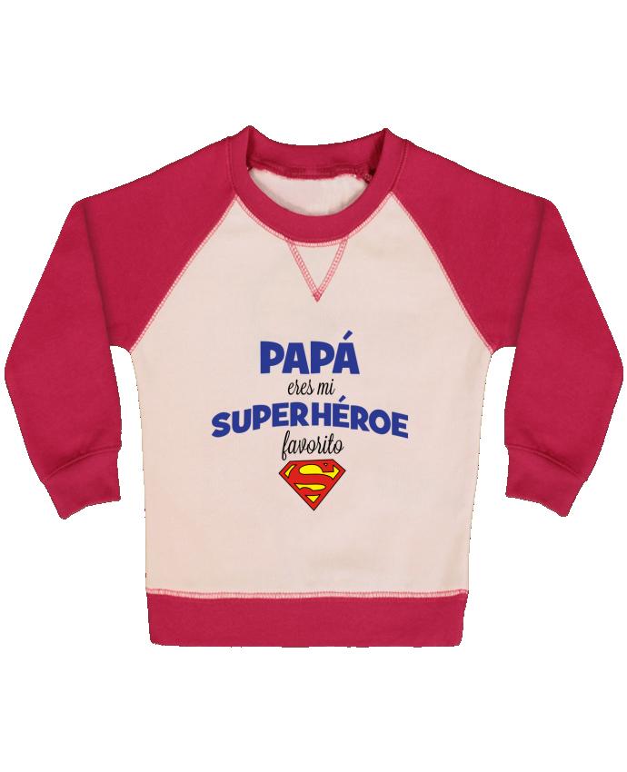 Sudadera Bebé Cuello Redondo Mangas Contraste Papa eres mi superhéroe favorito por tunetoo