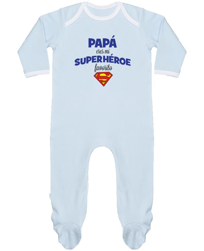 Pijama Bebé Manga Larga Contraste Papa eres mi superhéroe favorito por tunetoo