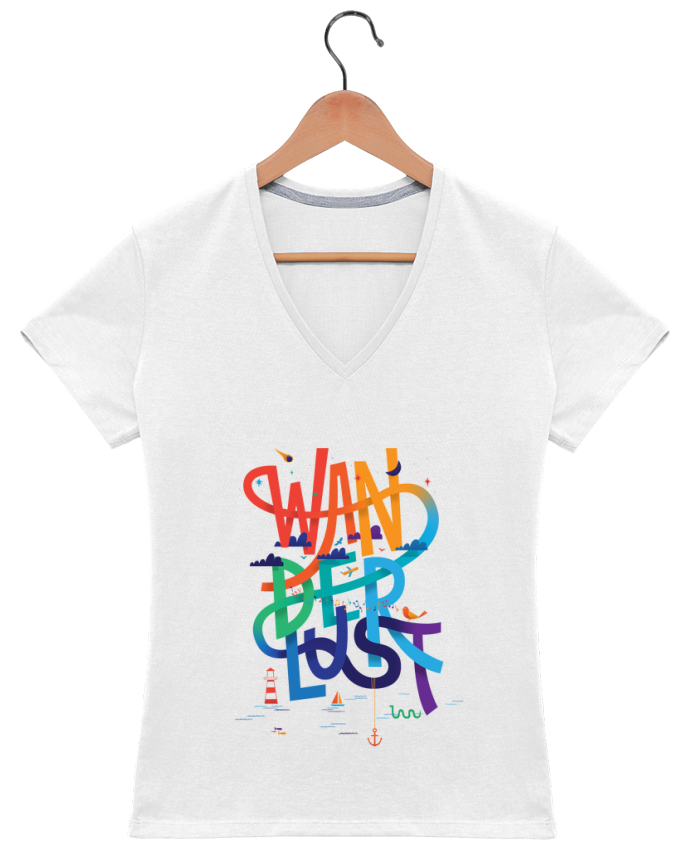 Camiseta Mujer Cuello en V WanderLust por chriswharton