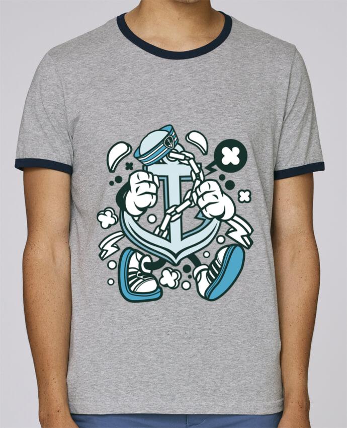 Camiseta Bordes Contrastados Hombre Stanley Holds Ancre de bateau Cartoon | By Kap Atelier Cartoon pour femme por Kap Atelier