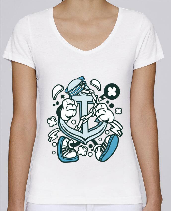 Camiseta Mujer Cuello en V Stella Chooses Ancre de bateau Cartoon | By Kap Atelier Cartoon por Kap Atelier