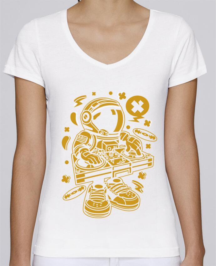 Camiseta Mujer Cuello en V Stella Chooses Dj Astronaute Golden Cartoon   By Kap Atelier Cartoon por Kap Ate