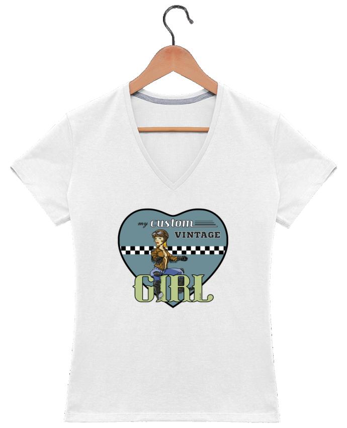 Camiseta Mujer Cuello en V My custom vintage girl por BRUZEFH