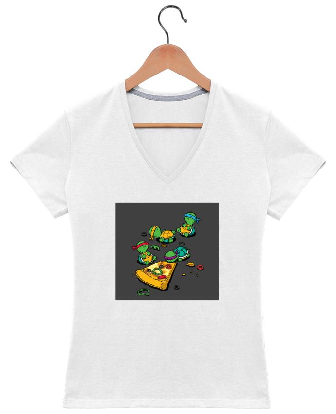 Camiseta Mujer Cuello en V Pizza lover por flyingmouse365
