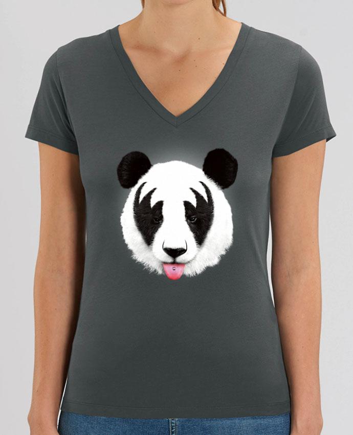 Camiseta Mujer Cuello V Stella EVOKER Kiss of a panda Par  robertfarkas