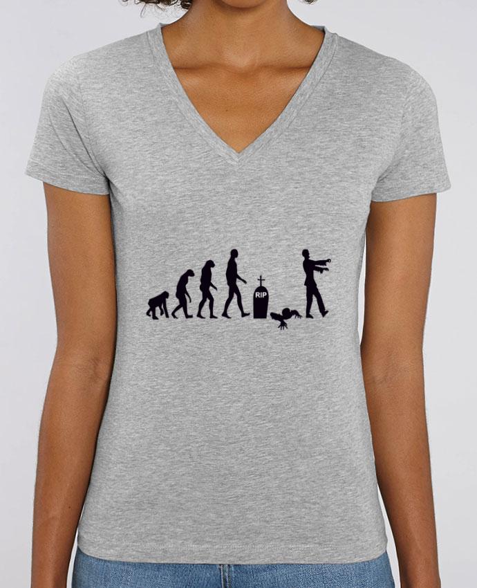 Camiseta Mujer Cuello V Stella EVOKER Zombie évolution Par  Benichan
