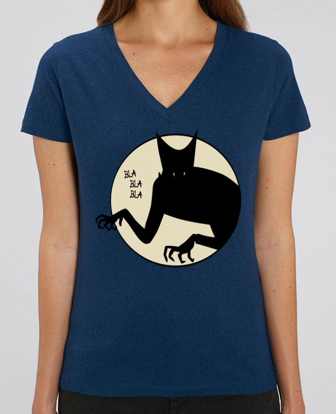 Camiseta Mujer Cuello V Stella EVOKER BLA BLA BLA Par  teeshirt-design.com