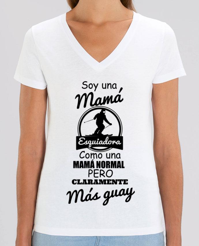 Camiseta Mujer Cuello V Stella EVOKER Mamá esquiadora Par  tunetoo