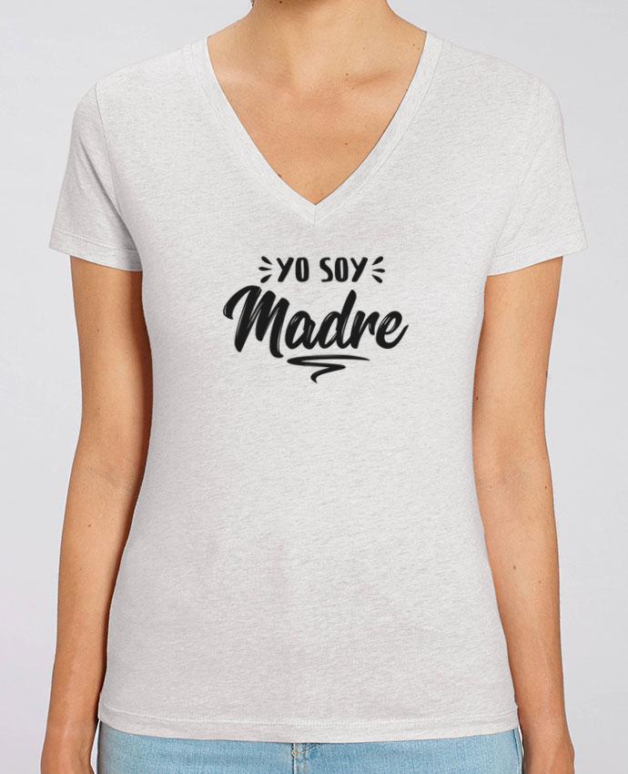 Camiseta Mujer Cuello V Stella EVOKER Soy madre Par  tunetoo