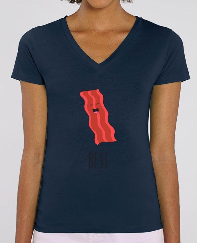 Camiseta Mujer Cuello V Stella EVOKER BFF - Bacon and egg 1 Par  tunetoo