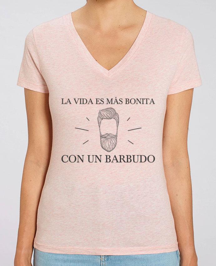 Camiseta Mujer Cuello V Stella EVOKER La vida es más bonita con un barbudo Par  tunetoo