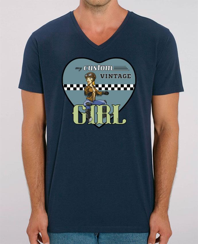 Camiseta Hombre Cuello V Stanley PRESENTER My custom vintage girl por BRUZEFH