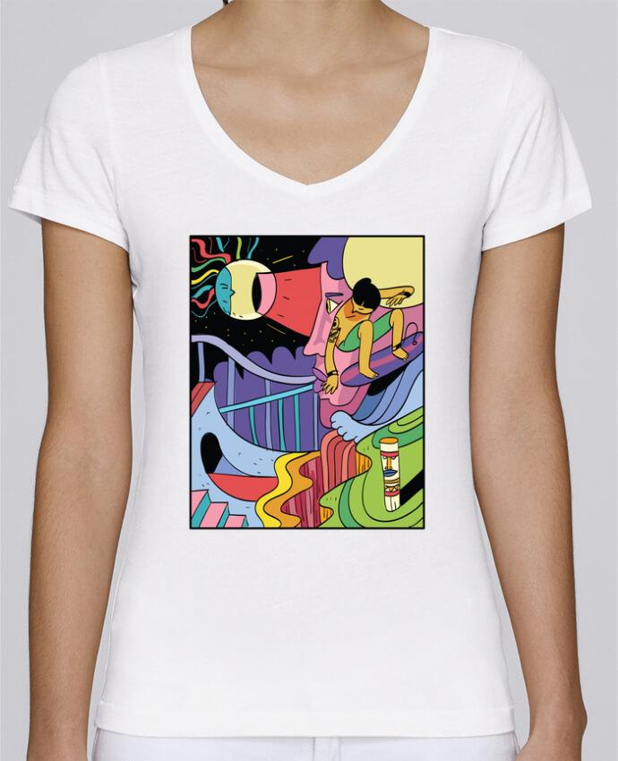 Camiseta Mujer Cuello en V Stella Chooses surferslimbo por Arya Mularama