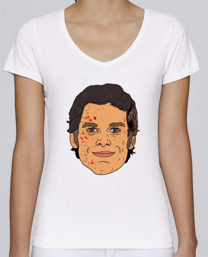 Camiseta Mujer Cuello en V Stella Chooses Dexter por Nick cocozza