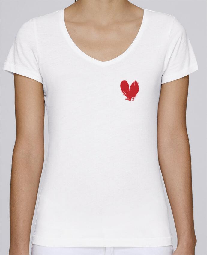 Camiseta Mujer Cuello en V Stella Chooses coeur de plumes por Studiolupi