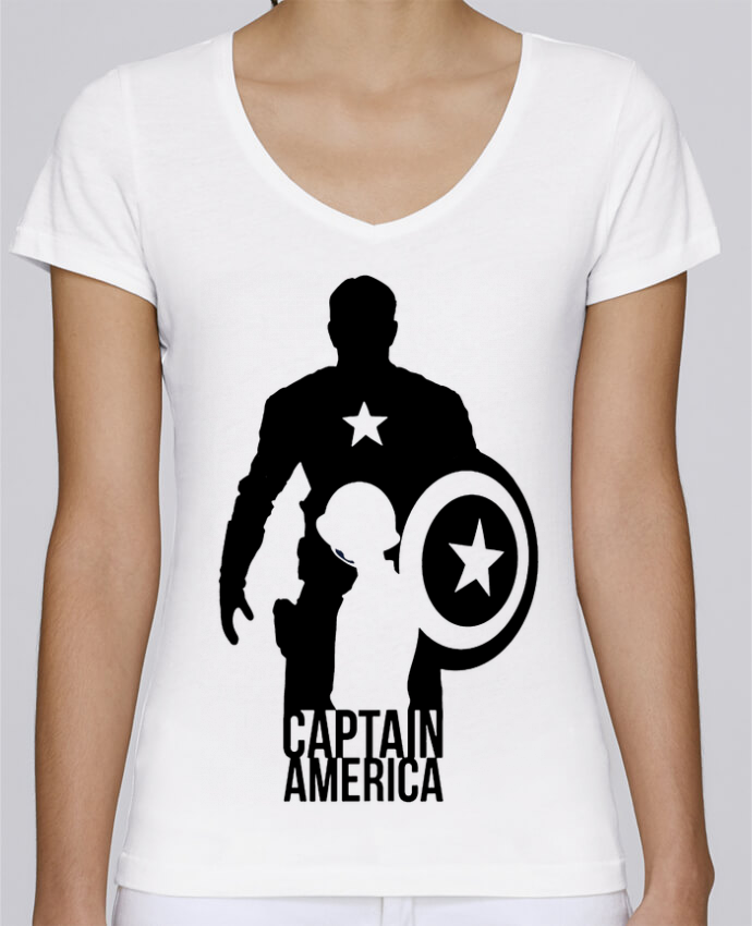 Camiseta Mujer Cuello en V Stella Chooses Captain america por Kazeshini