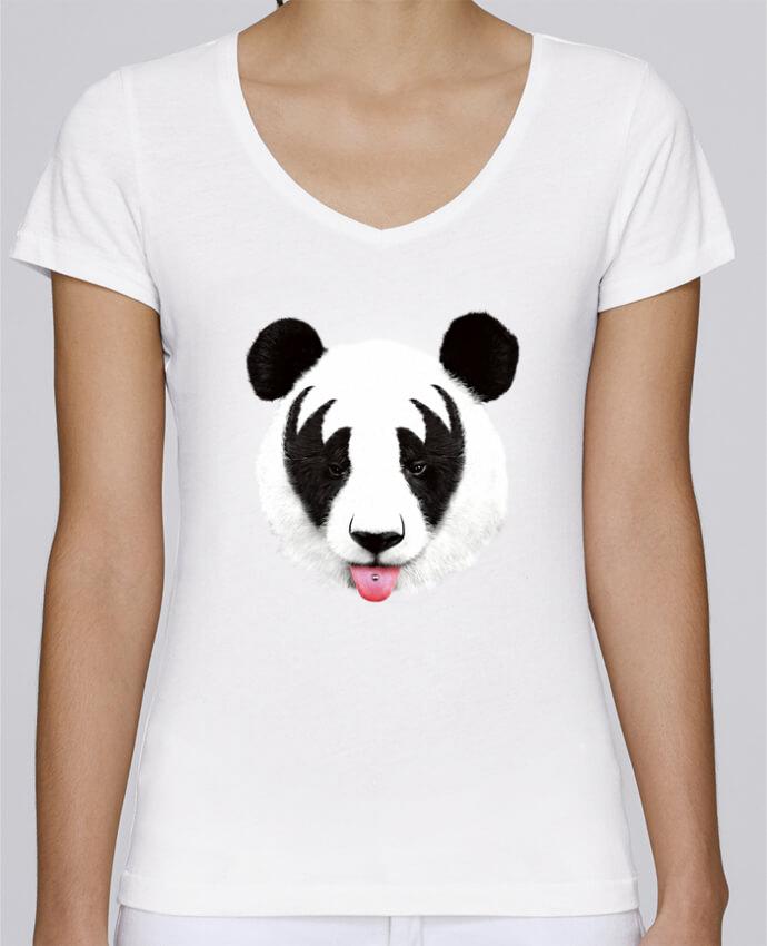 Camiseta Mujer Cuello en V Stella Chooses Kiss of a panda por robertfarkas