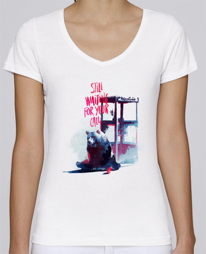 Camiseta Mujer Cuello en V Stella Chooses Still waiting for your call por robertfarkas
