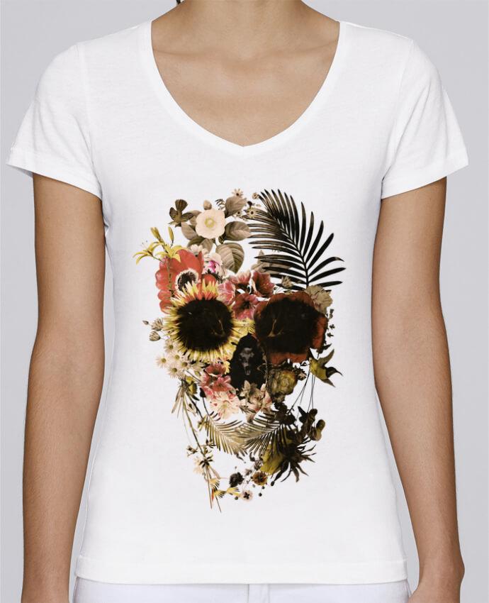 Camiseta Mujer Cuello en V Stella Chooses Garden Skull por ali_gulec
