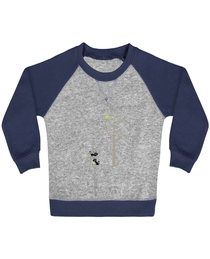 Sudadera Bebé Cuello Redondo Mangas Contraste Growing a plant for Lunch por flyingmouse365