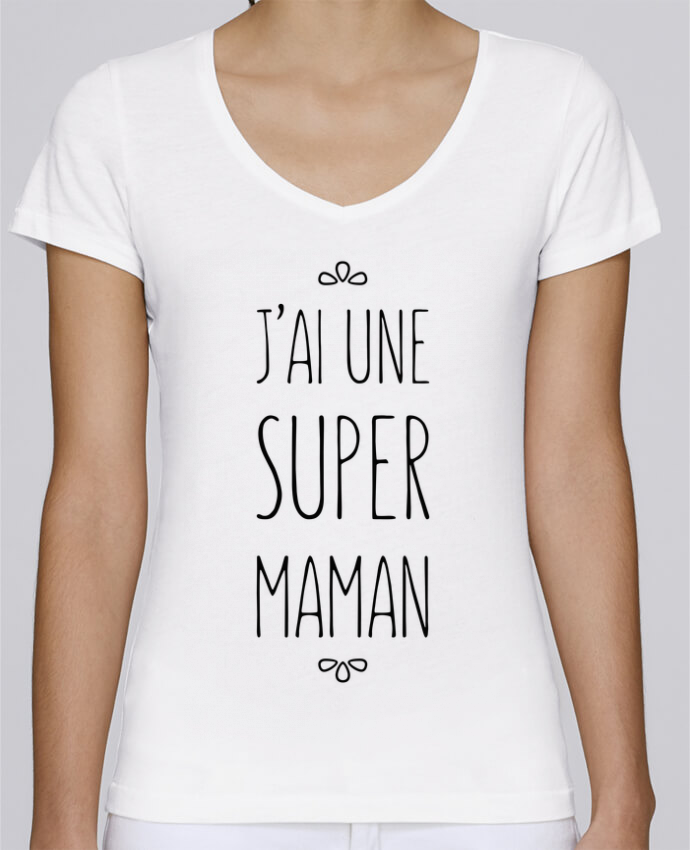 Camiseta Mujer Cuello en V Stella Chooses J'ai une super maman por tunetoo