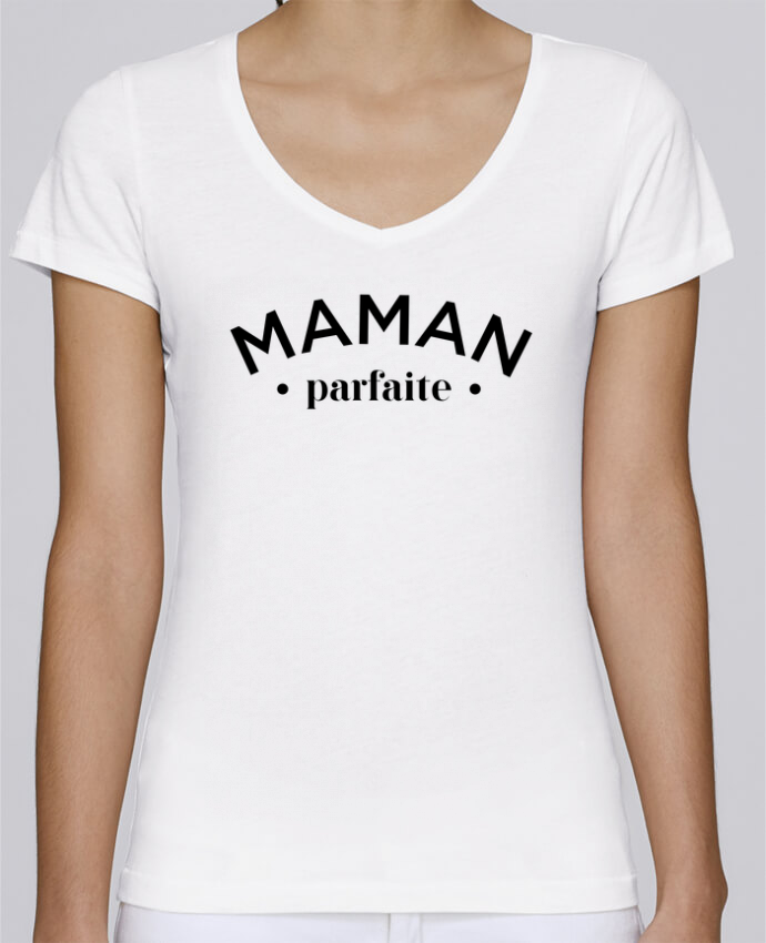 Camiseta Mujer Cuello en V Stella Chooses Maman porfaite por tunetoo